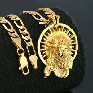 """18k Gold PT Jesus Face Pendant 5mm 18"""" Necklace"""